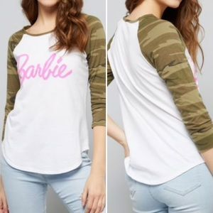 Tops - Camo raglan Barbie tee